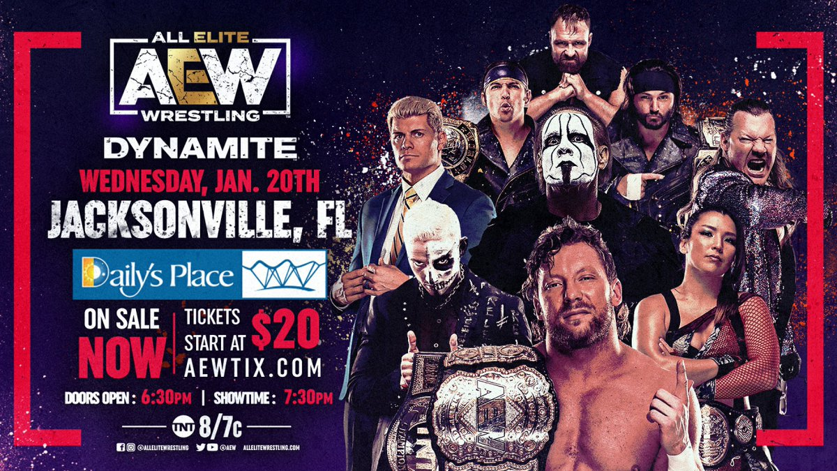 #AEW is proud to provide wrestling at a safe & physically distanced outdoor venue w/ seating pods for families & friends to get together. Jacksonville has become the premier wrestling destination in the U.S.A. & you can get Wed, January 20th tickets NOW at