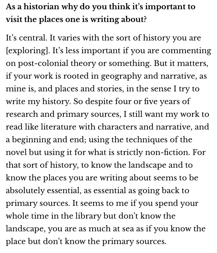 I've long aspired to teach History the way @DalrympleWill writes History.  This is an illuminating insight into his narrative approach to writing History, and why going to places the stories happened + characters lived is as important as going through archives.