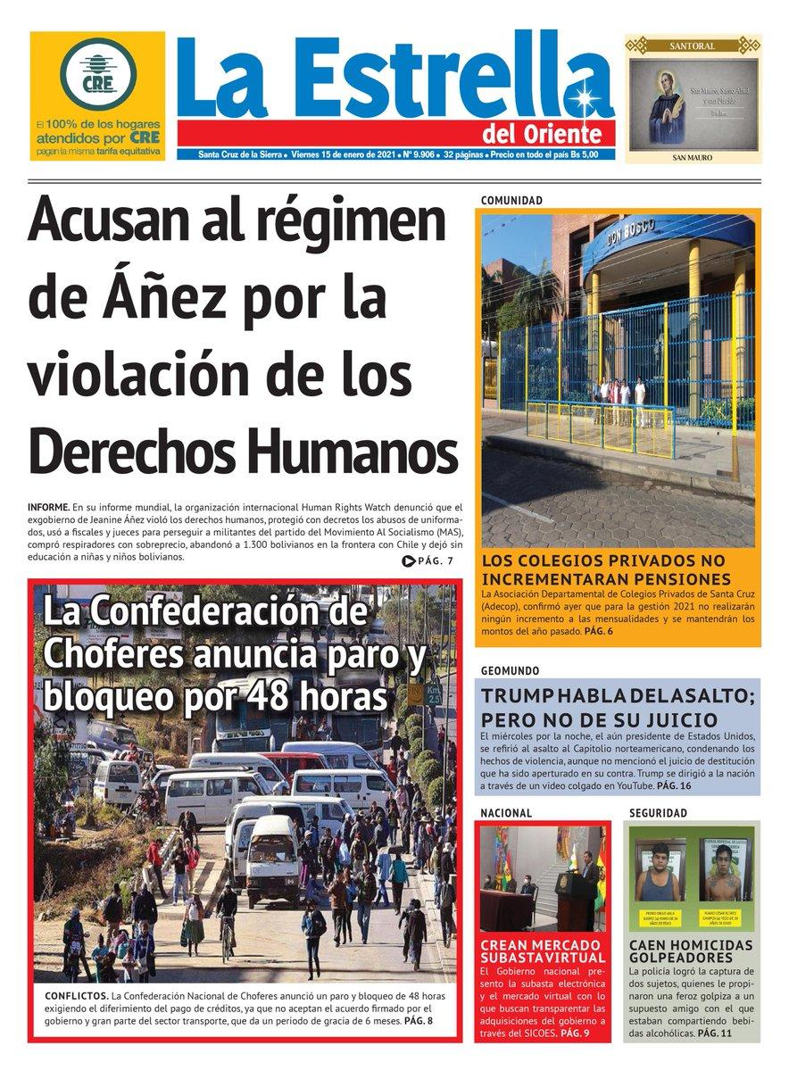 Te presentamos la portada de la edición del 15 de Enero. ¿Quieres ver la edición completa? Síguenos en nuestras redes sociales, o visita nuestro sitio web: . #PortadaDeHoy #ÚltimasNoticias #Bolivia  #SantaCruz #cuarentena #COVID19 #COVID19Bol