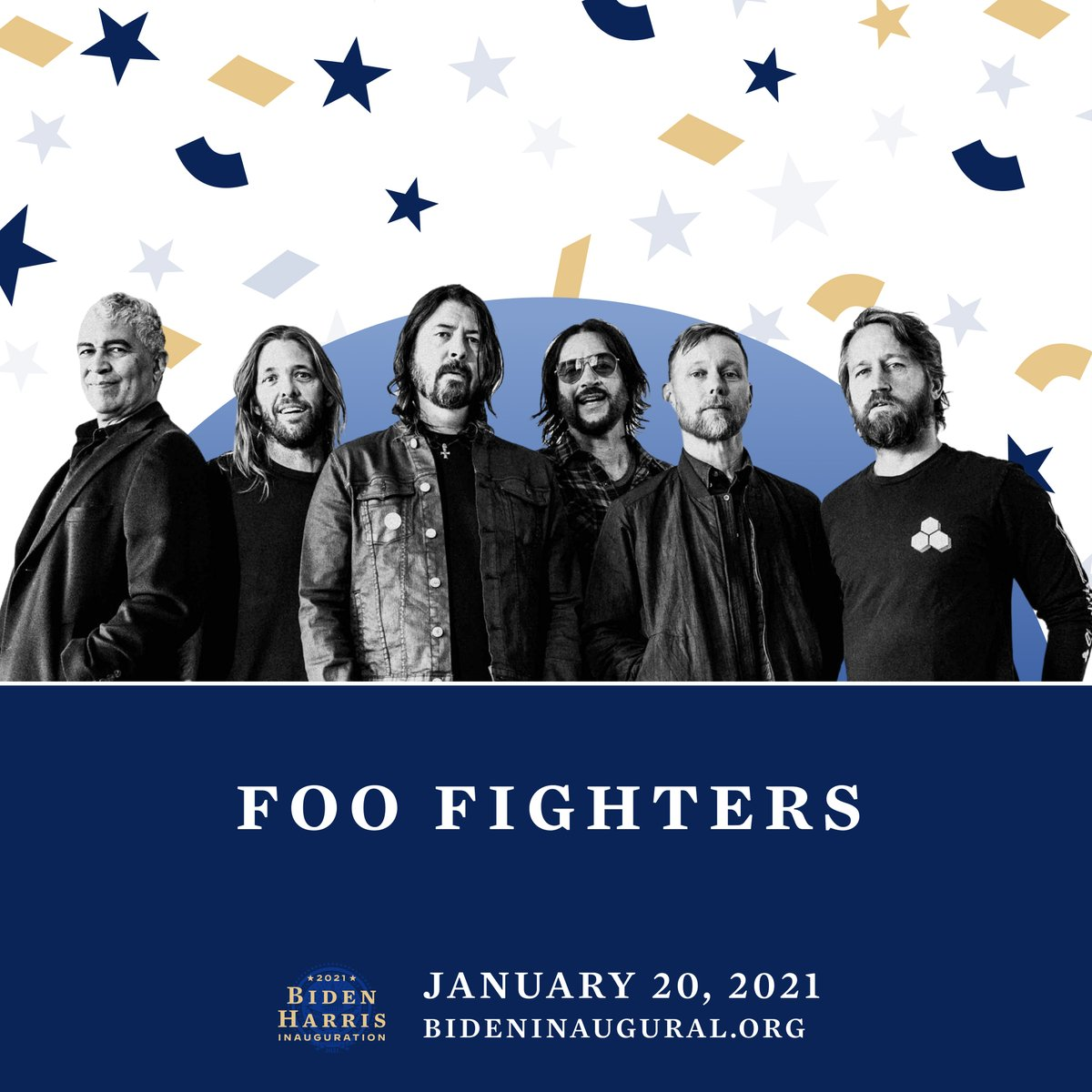 Announced today, Foo Fighters will be joining the inauguration celebration for @JoeBiden and @KamalaHarris. Tune in January 20th at 8:30pm ET. For more details on the event visit:    #Inauguration2021