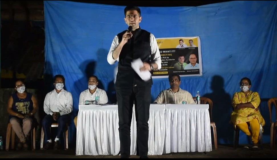 @AamAadmiParty #Delhi MLA and spokesman @raghav_chadha appealed to people of Curchorem to elect AAP in 2022 #Goa Assembly elections, promising that there will be no defections of party's elected MLAs.   || #PRIMEGOA #TV_CHANNEL #GOA #PRIMEUPDATE ||