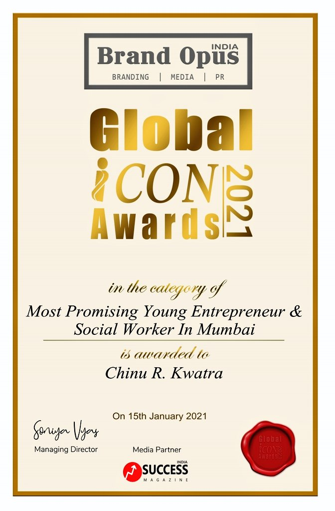 Today, I am overwhelmed to be recognised as Most Promising Young Entrepreneur & Social Worker in Mumbai by Global Icon Awards 2021.  I would Thank each one of you for the Love & Support you have showered on me in my journey  Keep blessing  🙏  @AUThackeray @priyankac19 @deespeak