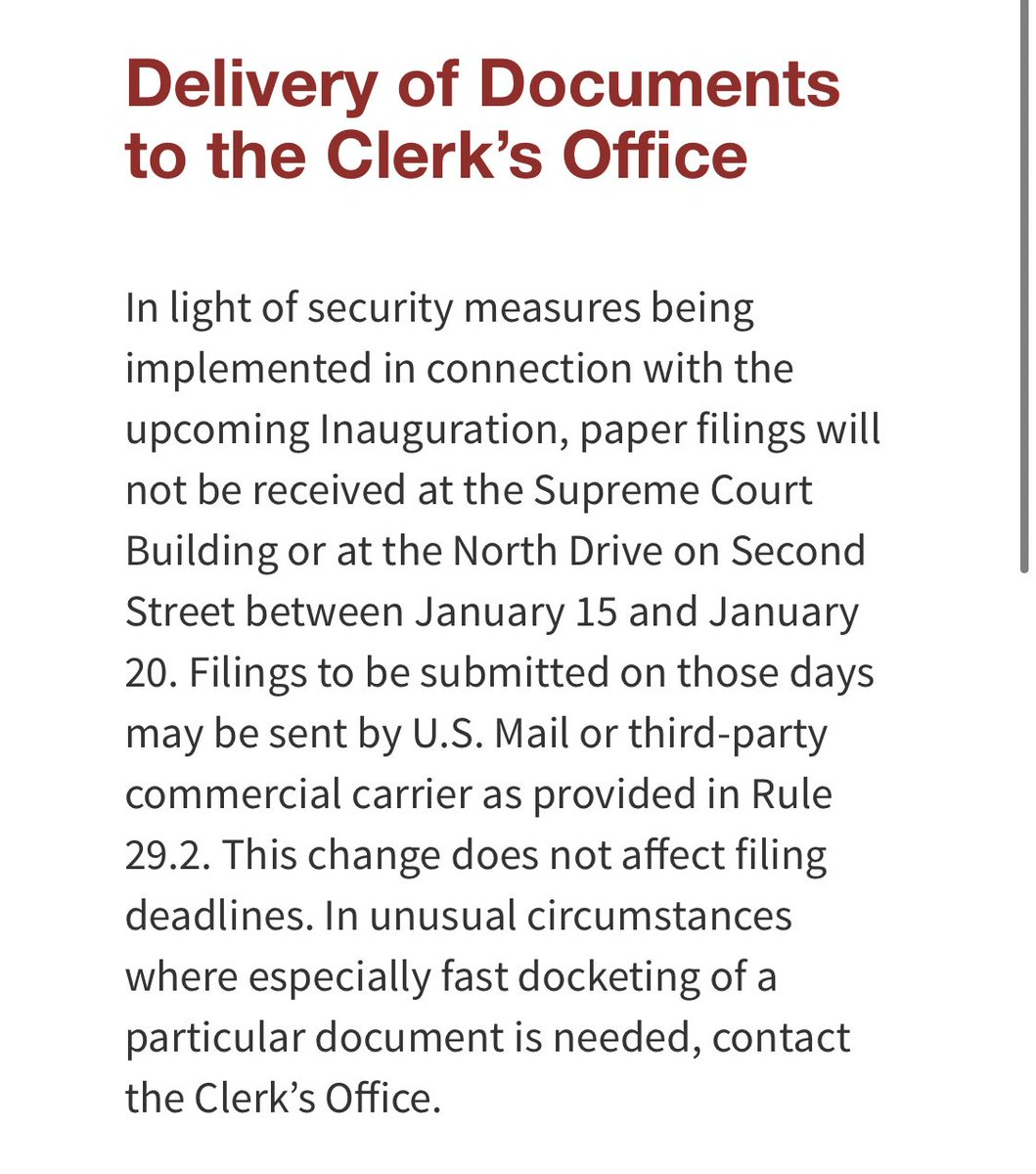 Brief security-related update from the Supreme Court. No paper filings through Inauguration Day.