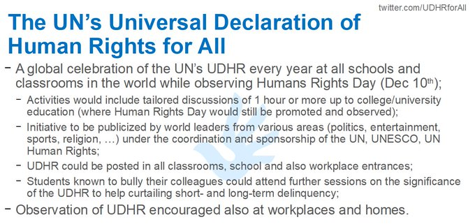 @UN_PGA @GuyRyder 𝗣𝗟𝗘𝗔𝗦𝗘 focus on #HumanRights education, on tomorrow's leaders. Start a yearly celebration of @UN #UDHR on #HumanRightsDay, all classrooms, workplaces in the world coordinated by @UN @UNESCO @UNHumanRights @UNICEF @ILO. A better world in 1 generation?