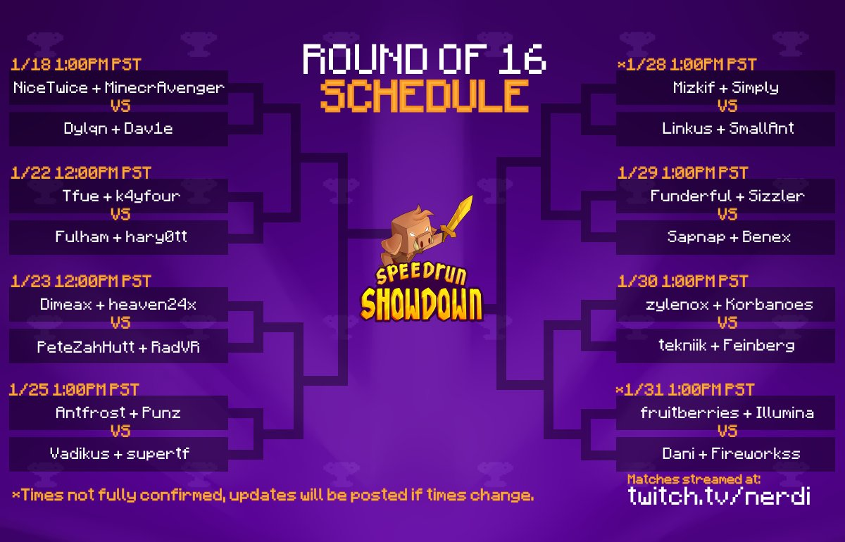 nerdi_tv - Minecraft Speedrun Showdown Bracket & Schedule Reveal! Find out when all the matches will be! More importantly, who will advance to the next round?