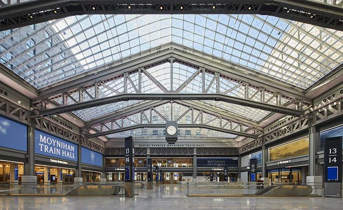 After 28 years, _Design's Moynihan Train Hall expands New York's Penn Station.  Photo © Lucas....