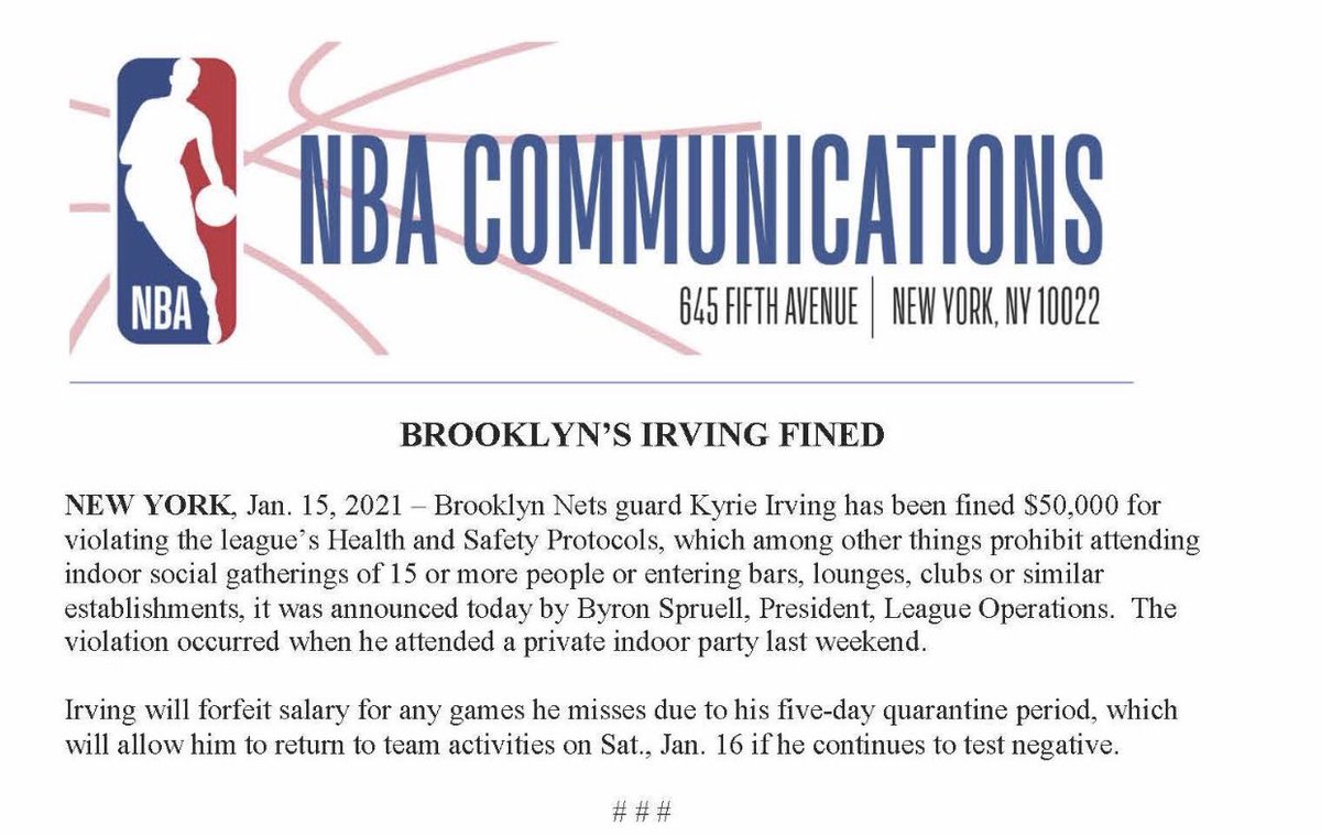 Kyrie Irving has been fined $50,000 for violating the league's health and safety protocols.