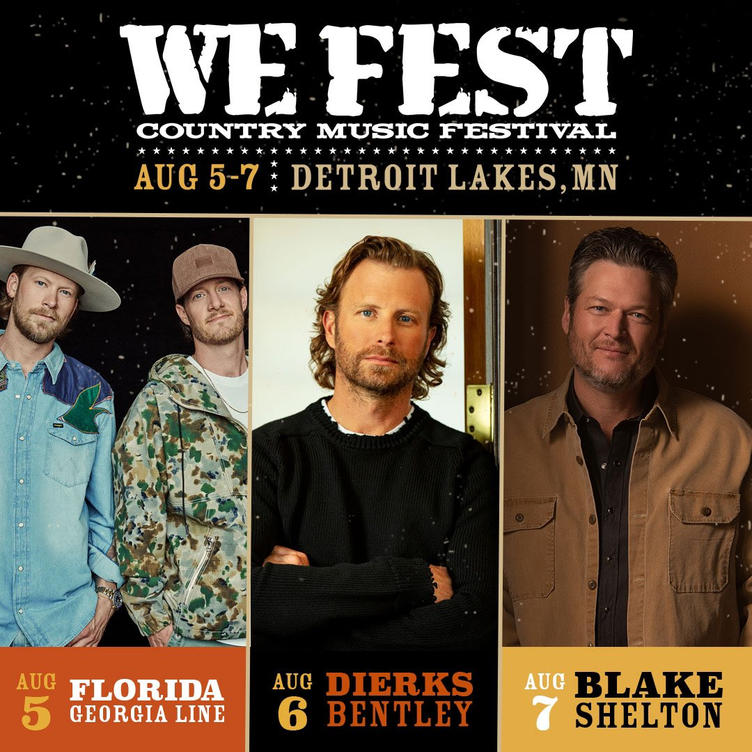Everyone ready? WE Fest featuring @FLAGALine, @DierksBentley, @blakeshelton and many more, August 5-7 at Soo Pass Ranch is on sale now!  Grab your 3-day passes now!  Link here: