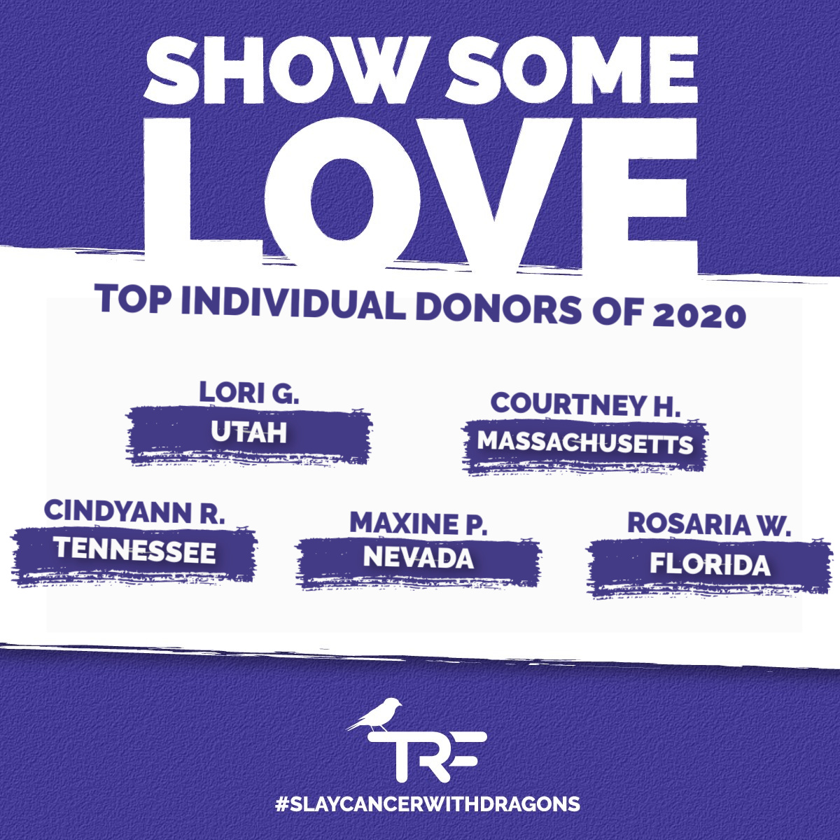 💜😍💜 Our 2020 was better because of Lori, Courtney, CindyAnn, Maxine, and Rosaria - & hundreds more of you.  THANK YOU for your willingness to donate to our pediatric cancer families during this last year of uncertainty. We couldn't be doing what we're doing without you.