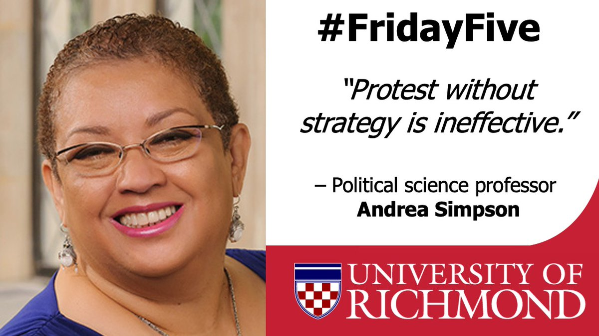2/5 is poli sci professor Andrea Simpson. As a teenager, Simpson participated in the Sanitation Workers strike & was at the last march led by #MLK.  She has dedicated her academic career to researching the Environmental Justice Movement & effective protest strategy. #URExpert https://t.co/qpPdBuDzMu