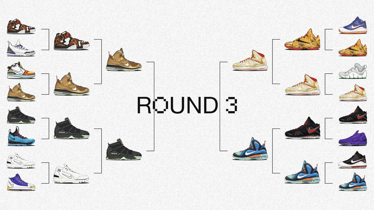 Now kicking off round 3 of our LeBron PE Vote Back.  Your votes (and upsets) moved us even closer to determining which @KingJames PE drops in the future.  Which two pairs will advance? Vote via SNKRS (iOS, select regions):  #SNKRSVoteBack