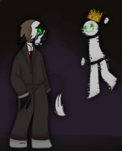 back to edgy stuff yaaaaayyy. He has a crown. And he glich and stuff. Oh and Ranboo is suffering ..... that to.  ranboo=sad confusion boi dream= glitch hehe  #ranboofanart #dreamsmp #dreamfanart #dreamsmpfanart #WELOVEYOURANBOO
