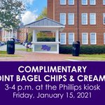 It's #NationalBagelDay! To celebrate, stop by the Phillips kiosk from 3-4 p.m. today for bagel chips from High Point Bagel with scratch made assorted cream cheese! 🥯 #HPU365