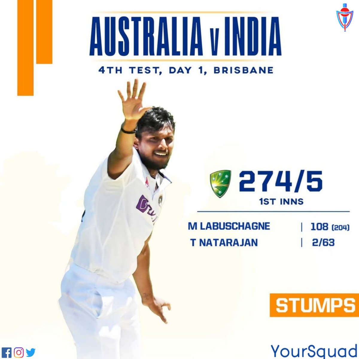 End of Day 1️⃣  #TeamIndia have picked up 5️⃣ wickets  2️⃣ for Natarajan 1️⃣ each for Siraj, Shardul & Sundar   Join us for Day 2 action Tomorrow #AUSvIND