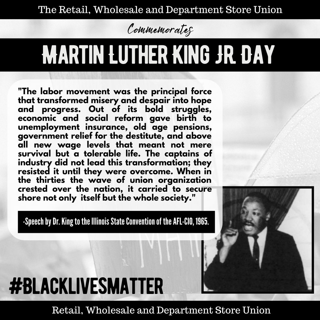 Today we celebrate the birthday of Dr. MLK, Jr. He understood the plight of the worker is spiritually & historically intertwined with the struggles of the civil rights movement. Local 338 celebrates MLK & all his achievements in progressing the labor & civil rights movements #MLK