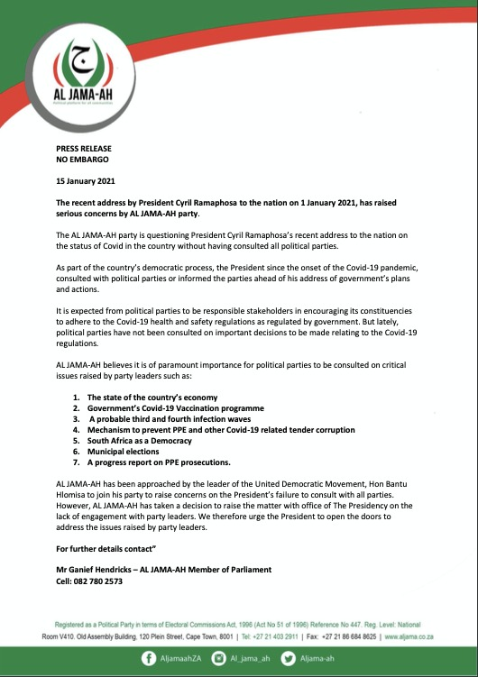 PRESS RELEASE NO EMBARGO 15 January 2021 The recent address by President Cyril Ramaphosa to the nation on 1 January 2021, has raised serious concerns by AL JAMA-AH party. https://t.co/k95aTuGKz8