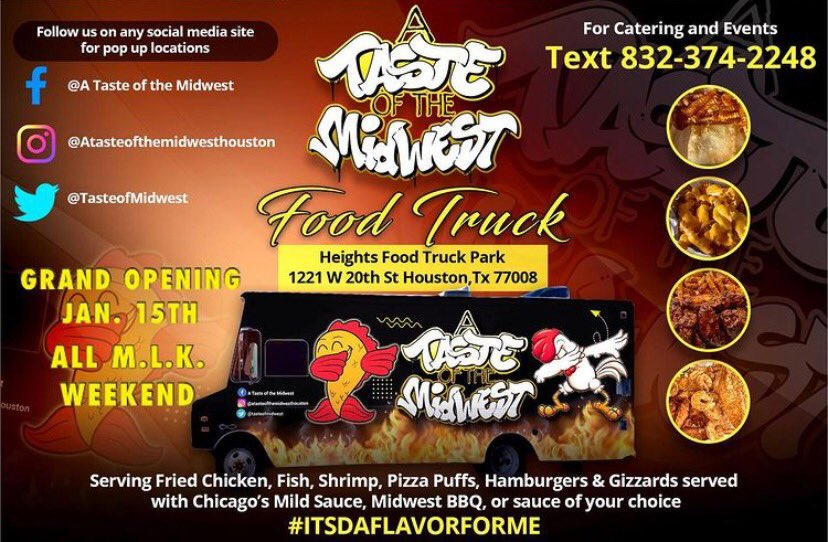 Hey Houston Twitter ✨ My daddy's Grand opening for his food truck is today! Chicago style food at a good price!!! Come out today or all weekend and get fed ‼️ #houstontx #foodlover