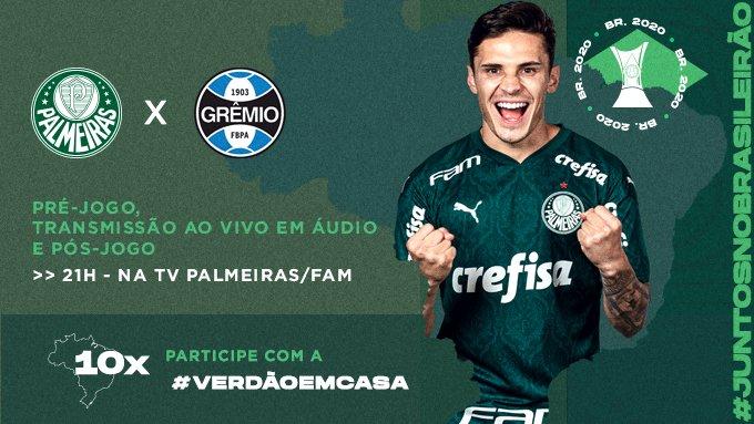 Hoje à noite a bola rola no Allianz Parque e você acompanha os detalhes da partida na transmissão em áudio da TV Palmeiras/FAM! ➤   Participe enviando sua foto ou vídeo com a hashtag #VerdãoEmCasa! 🎧👊  #AvantiPalestra #PALxGRE #JuntosNoBrasileirão