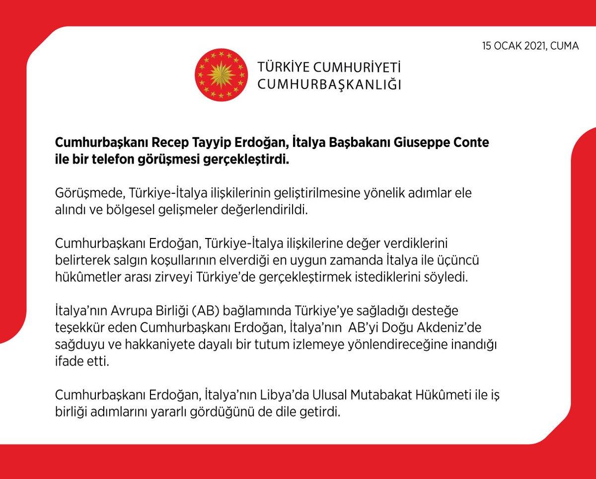 Cumhurbaşkanı @RTErdogan, İtalya Başbakanı Giuseppe Conte ile bir telefon görüşmesi gerçekleştirdi.
