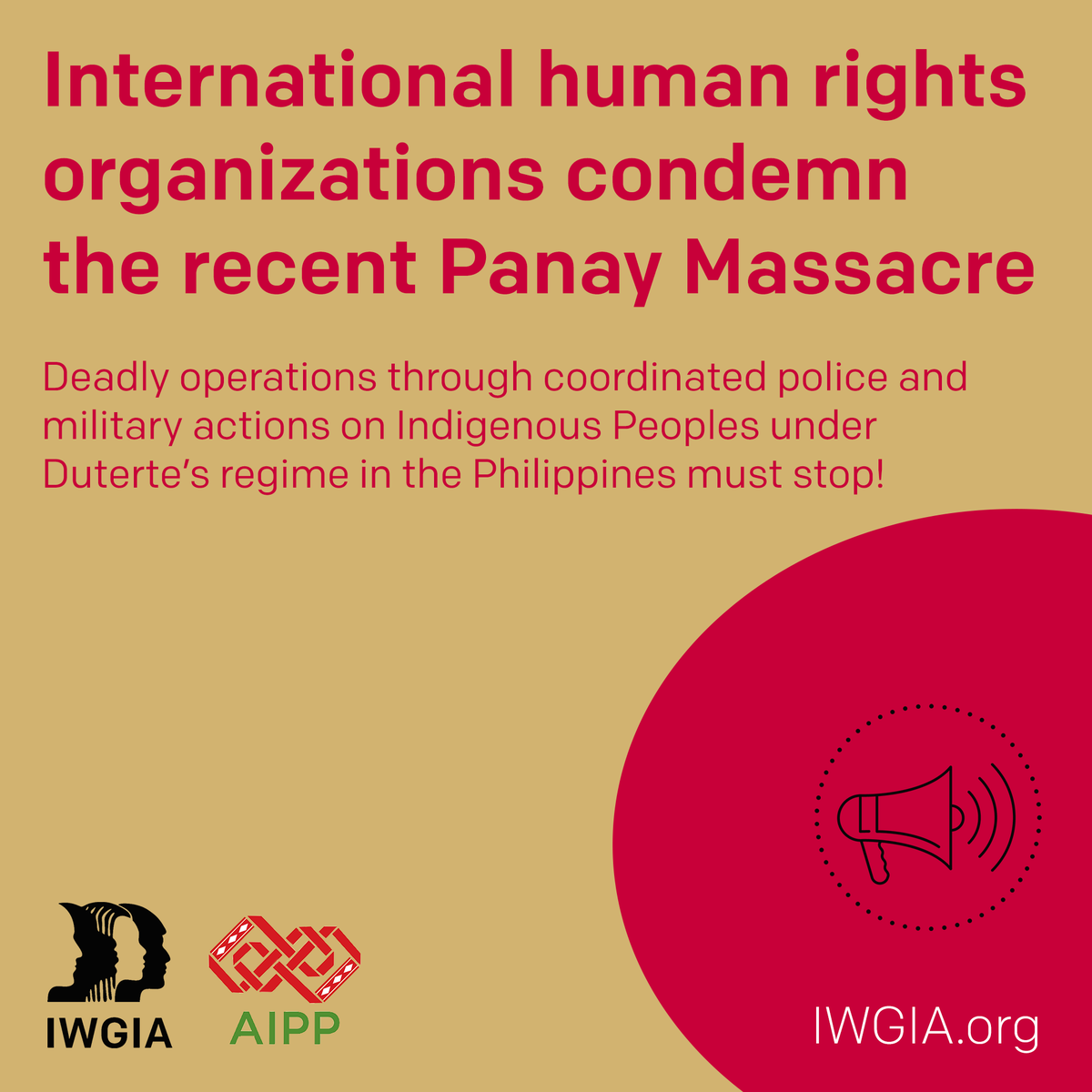 International human rights organizations condemn the recent #PanayMassacre.📢 Deadly operations through coordinated police and military actions on Indigenous Peoples under Duterte's regime in the #Philippines must stop!🇵🇭 👉Statement: iwgia.org/en/philippines… #StopTheKillingsPH