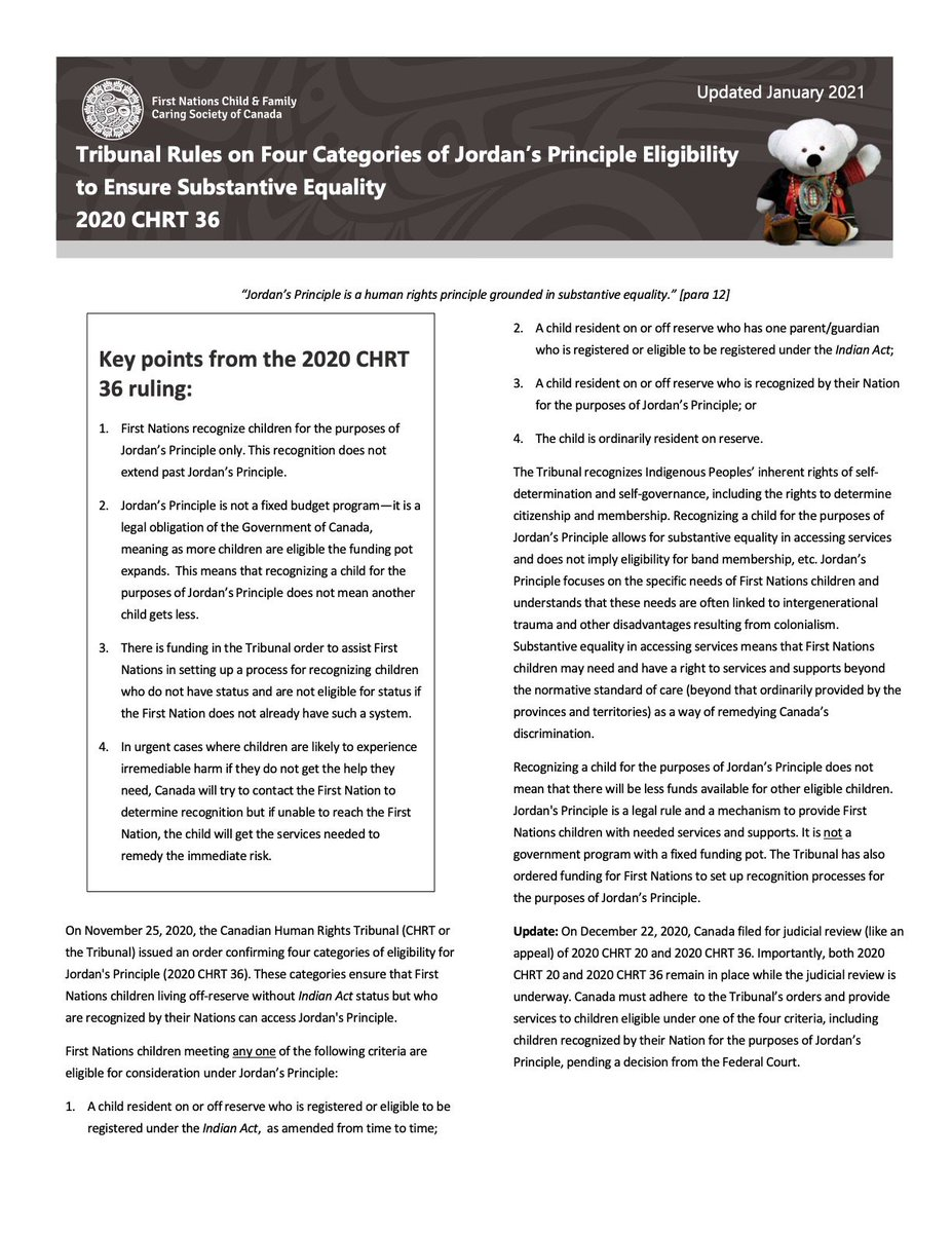 In light of the pending judicial review on the eligibility of non-status First Nations kids, we have updated our information sheet on 2020 CHRT 36. A reminder that until the judicial review is decided, the Tribunals ruling on eligibility still stands! buff.ly/3bJyOlQ