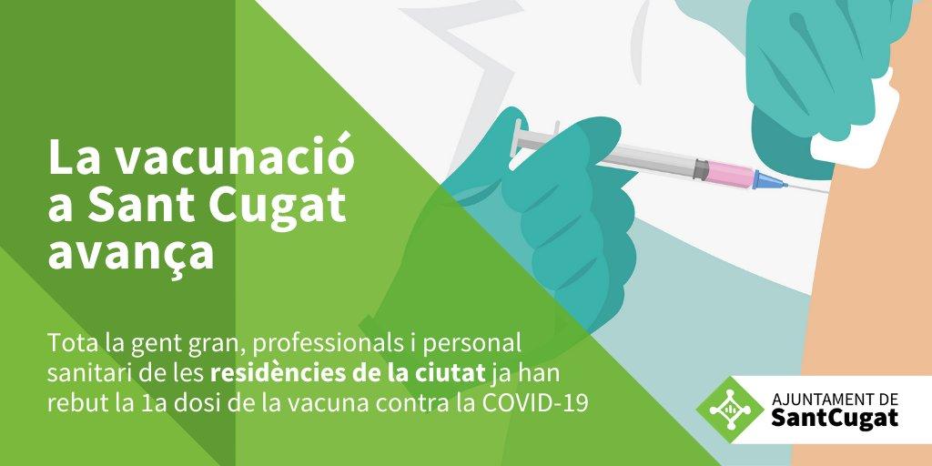A #Santcugat ja s'han vacunat amb la 1a dosi tota la gent gran, professionals i personal sanitari de les RESIDÈNCIES de la ciutat  ✅ Total: 1.639  👵🏻   618 residents 👩🏻⚕️1021 professionals residències i sanitaris