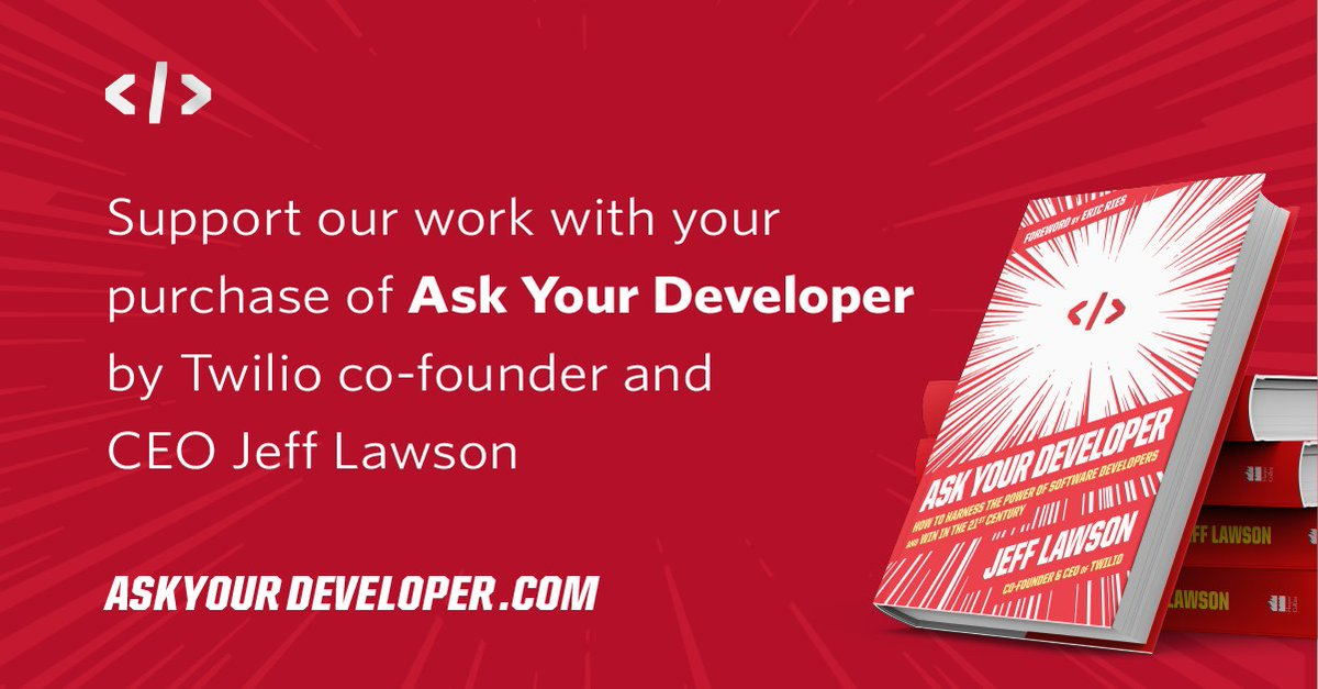 """""""@YearUp: Excited to share that @twilio co-founder and CEO @jeffiel is donating proceeds from his book #AskYourDeveloper to Year Up! Learn more about this exciting initiative, and purchase a book to support our mission:  """""""