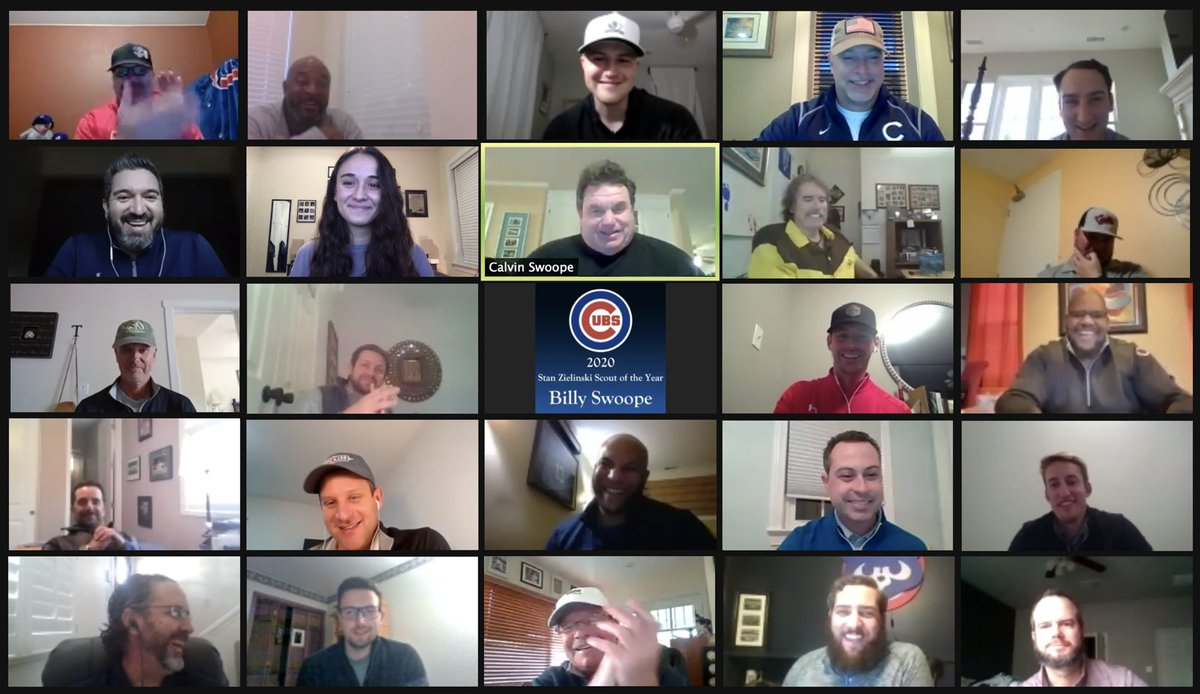 Congratulations to Billy Swoope, the recipient of the 2020 Cubs Stan Zielinski Scout of the Year Award!  The #Cubs baseball operations department gathered virtually to celebrate his accomplishments. 👏