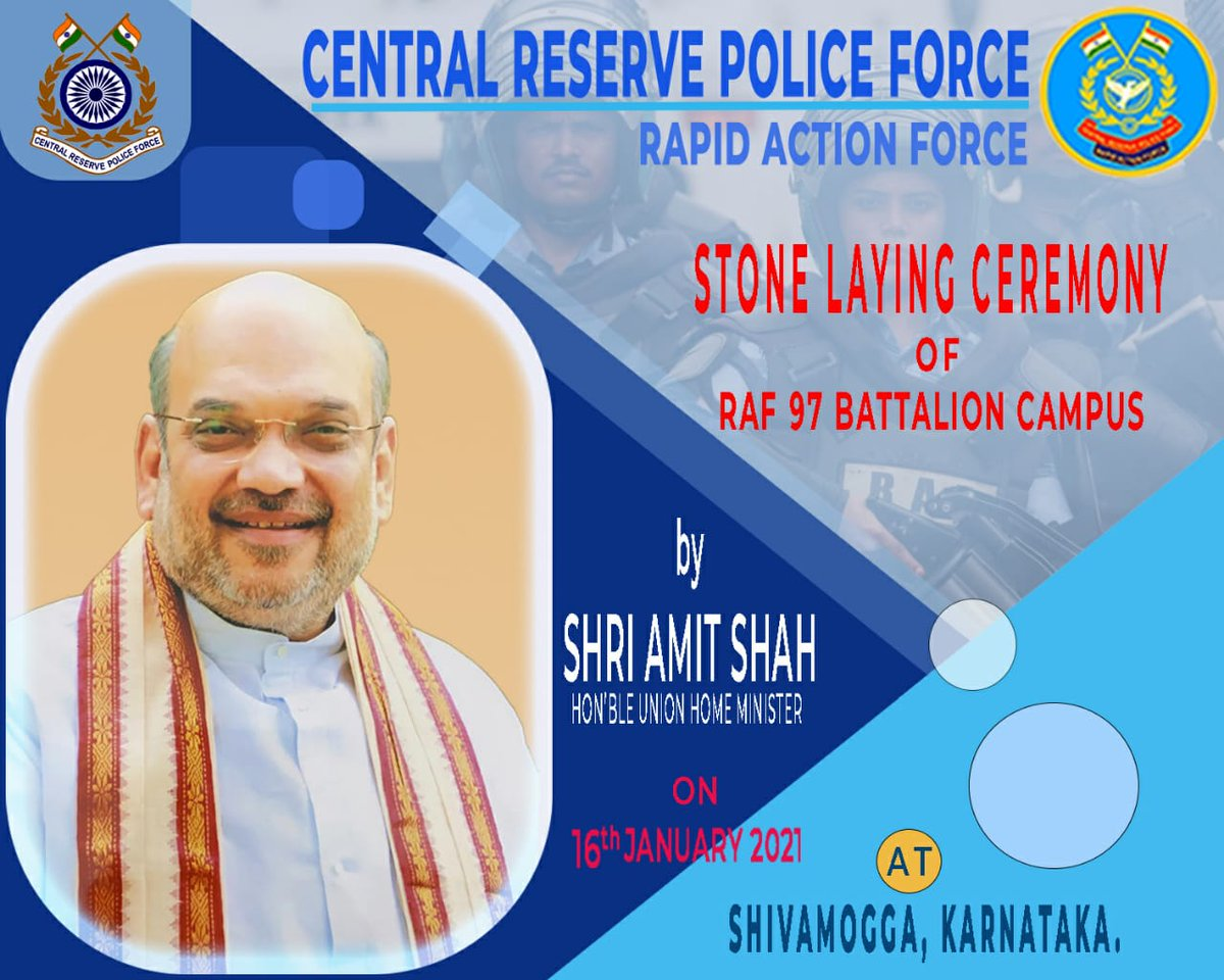 Hon'ble Home Minister Shri @AmitShah will grace the Bhoomi Poojan and Stone laying ceremony of 97Bn @RAFCRPF campus Bhadravati, Karnataka on 16/01/2021 at 1300hrs. Watch live on Bisag Vande Gujarat Channel No.1 Or click on   Or