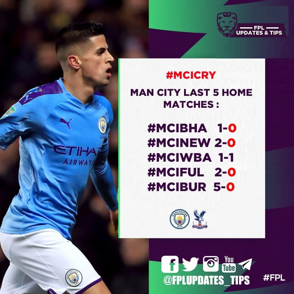 Man City Last 5 Home Matches : #MCIBHA 1-0 #MCINEW 2-0 #MCIWBA 1-1 #MCIFUL 2-0 #MCIBUR 5-0  4/5 : cleansheets