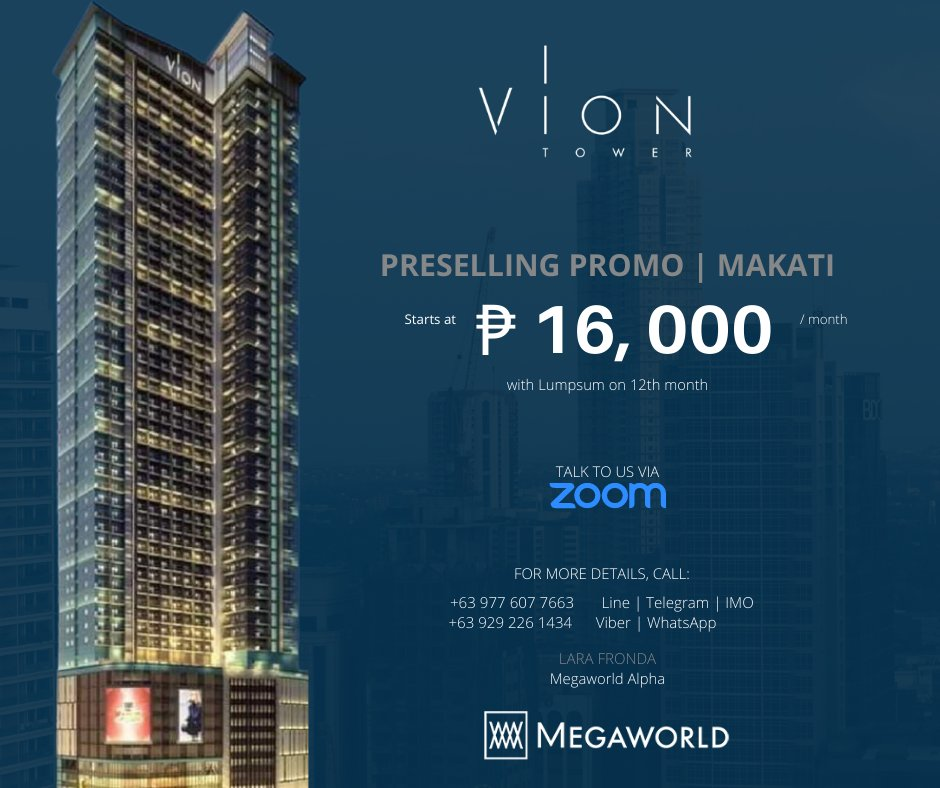Preselling Condominium in Makati  No Downpayment Promo For as low as Php 16, 000 monthly  For inquiries, call:  +63 977 607 7663 Line | Telegram | IMO +63 929 226 1434 Viber | WhatsApp | WeChat   #Condominium  #condoPH #RealEstatePH #PropertyInvestment  #MakatiCondo  #VionTower