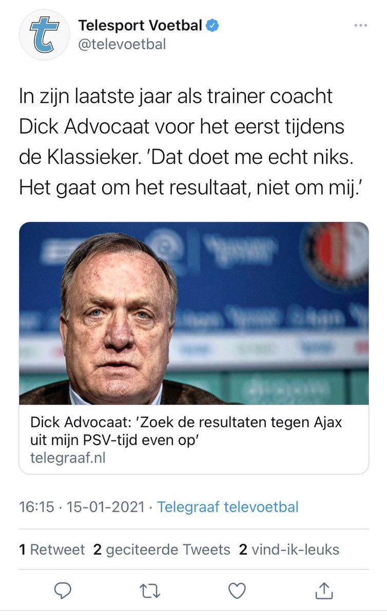 'Zoek de resultaten tegen Ajax uit mijn PSV tijd even op' aldus Dick Advocaat.  Oké, doen we.  3 van de 11 potjes tegen Ajax gewonnen. Inderdaad enorm indrukwekkend. 🙄🙄 https://t.co/zkGAgqlB8s