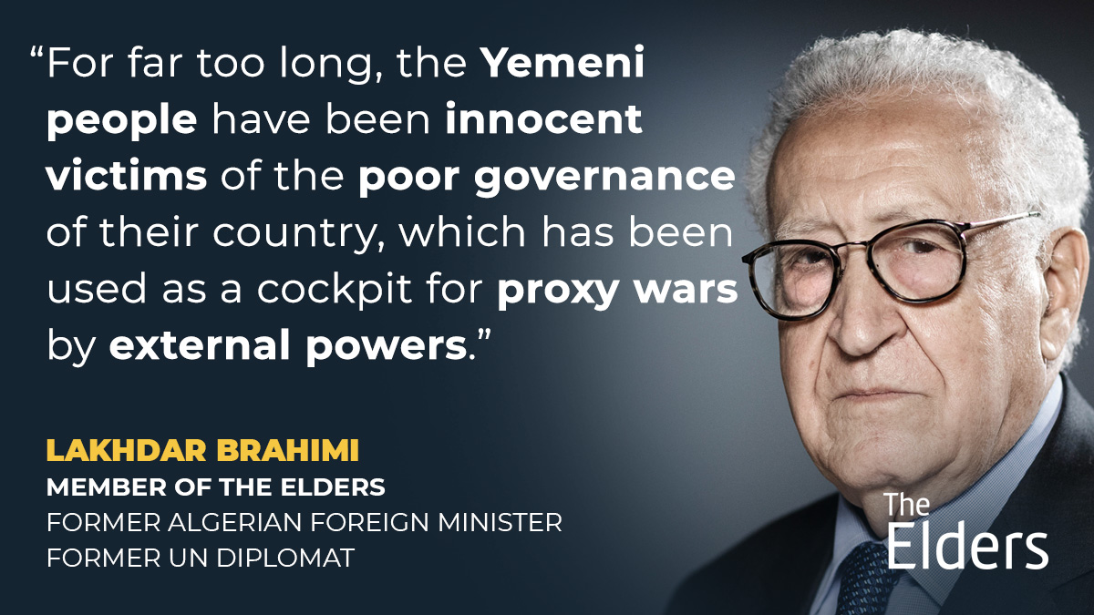 Lakhdar Brahimi highlights the urgency of a comprehensive review of US Middle East policy under @joebiden's new administration, with ending the #Yemen war a top priority.   Statement: