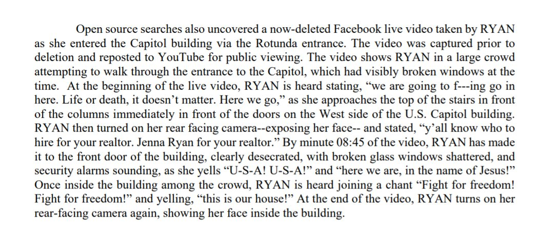 """In a now-deleted FB video, prosecutors say, Ryan is heard saying """"We are going to f---ing go in here. Life or death, it doesn't matter."""" Just before entering the building, she adds: """"Y'all know who to hire for your realtor. Jenna Ryan for your realtor."""""""