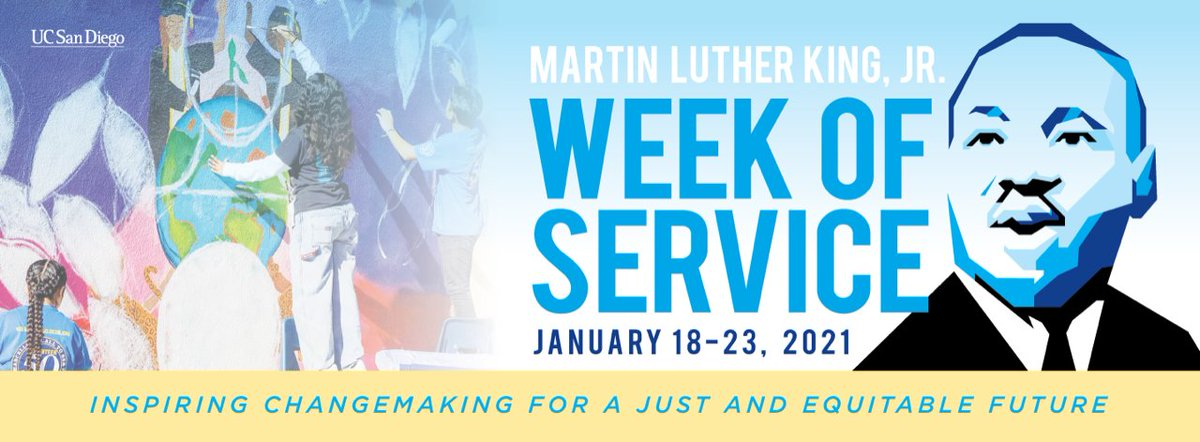 Join us for Martin Luther King Jr. Week of Service Jan. 18-23 featuring virtual events on service, dialogue and training. Explore #MLK Jr.'s philosophy towards racial justice, healing and hope while connecting with fellow Tritons. Register: https://t.co/SjDp2dW8Cp #MLKDay2021 https://t.co/ds9kqMkp2e