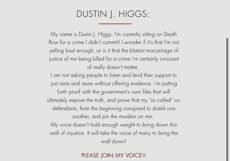 pls stop ignoring this on ur tl. if ur white and u are actively scrolling through twitter and not sharing please do from reading this start sharing, signing petitions, writing emails, calling, donating and save dustin higgs he's due to be executed TODAY u could save his life