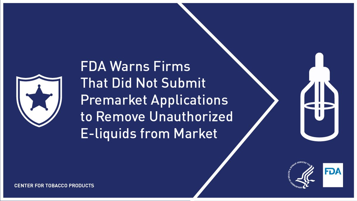 FDA issued warning letters to 10 firms who manufacture & operate websites illegally selling e-liquids which lack premarket authorization. The firms did not submit a premarket tobacco product application by the Sept. 9, 2020 deadline. fda.gov/news-events/pr…