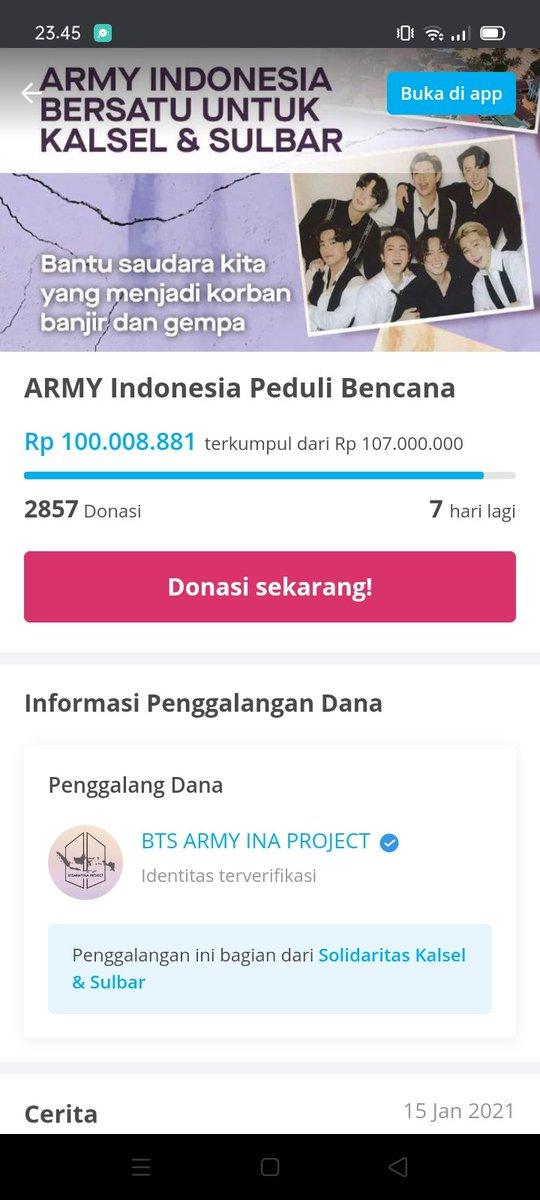 Alhamdulillah Terimakasih banyak untuk ARMY & #orangbaik yang udh ikut berdonasi dan bantu share project donasi ini 🥺  Donasi ini terkumpul sebanyak 100jt sebelum 12 jam 😭 Jangan bosen buat berbagi kebaikan ya 💜  Link :