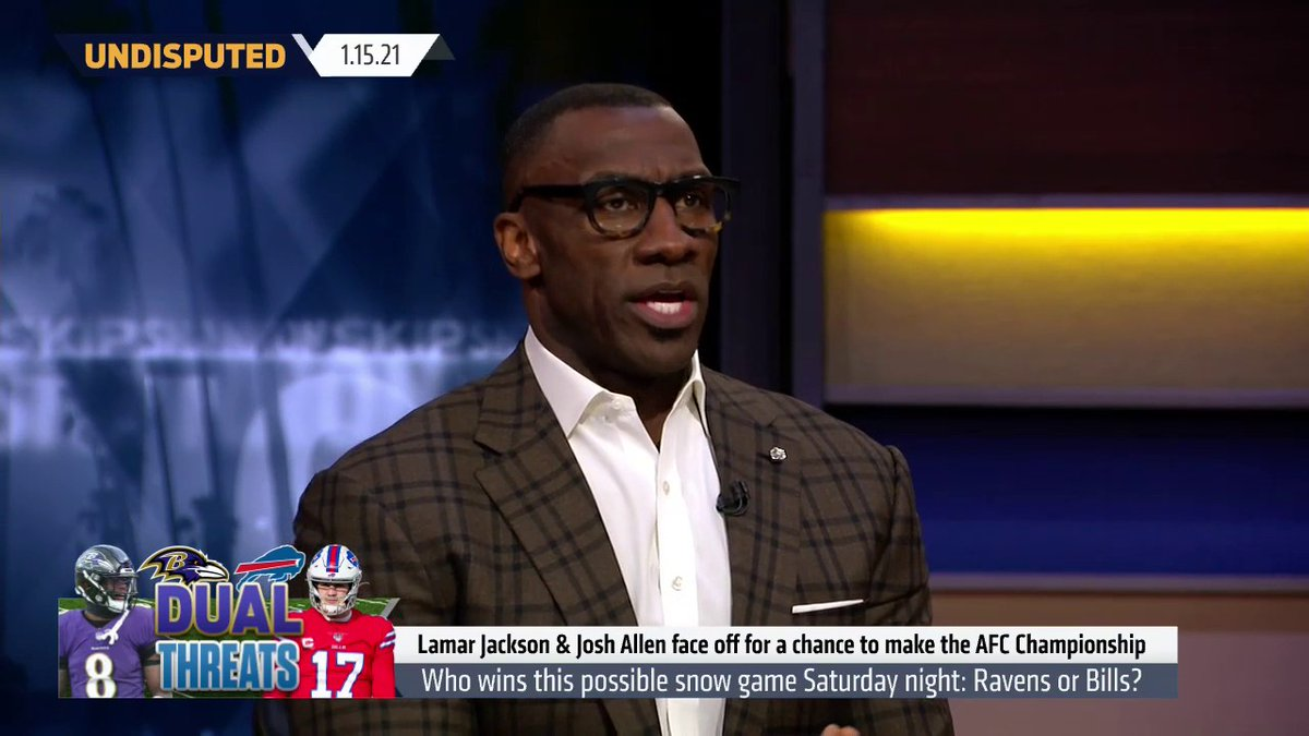 """.@ShannonSharpe on the showdown between the Bills and Ravens:  """"I'm really anxious to see this game. When I look at the Ravens and what they've done the last 6 games, it's been very impressive. The Bills struggle at stopping the run, so I'm taking the Ravens in an upset, 31-28."""""""