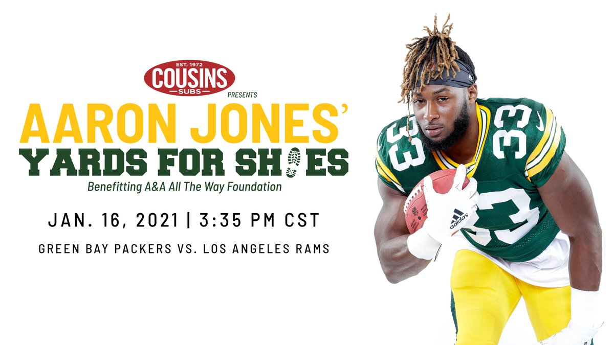 We are honored to present the Aaron Jones' #Yards4Shoes campaign benefitting @AAAllTheWayFdn. For every rushing yard @showtyme_33 has this @packers postseason, a pair of shoes will be donated to a child in the Green Bay Area.   Want to get involved? Visit .