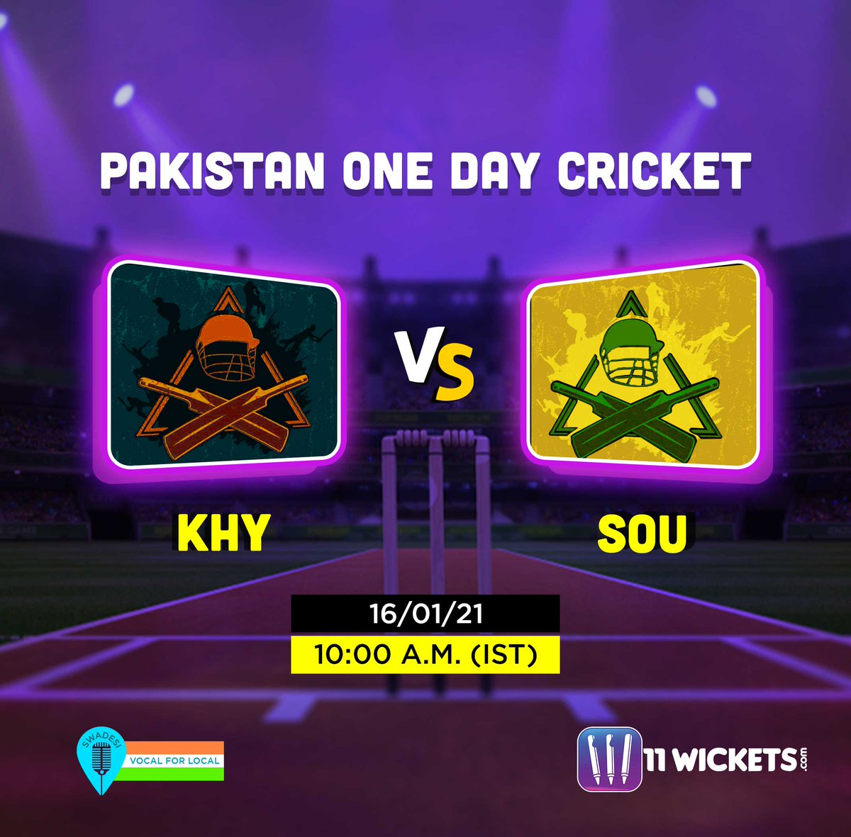 A thrilling match🏏from Pakistan One Day Cricket is here to serve you winnings 🏆 Get set with your team & take part in KHY vs SOU @ 11Wickets 👉    #11Wickets #KaroGyaanKiKamai #PakistanOneDayCricket #ODI #Cricket #CricketMatch #Sports #FantasySports