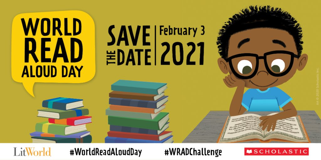 Are you ready for World Read Aloud Day on February 3, 2021? Here's how to join us: 1.) Snap a photo or video of you reading aloud 2.) Tag @Scholastic and @litworldsays and challenge 3 friends! 3.) Use the hashtag #WorldReadAloudDay & #WRADChallenge