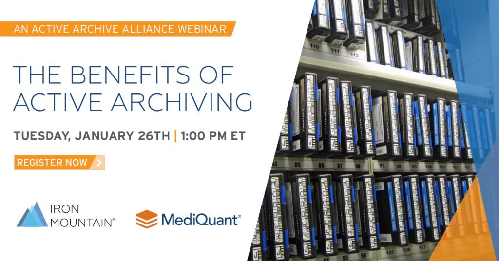 Explore the ways you can reduce #datastorage costs and complexities. Register for our #webinar on Tuesday, January 26th at 1:00 PM ET, in partnership with @MediQuantLLC, to learn about the benefits of active archiving: