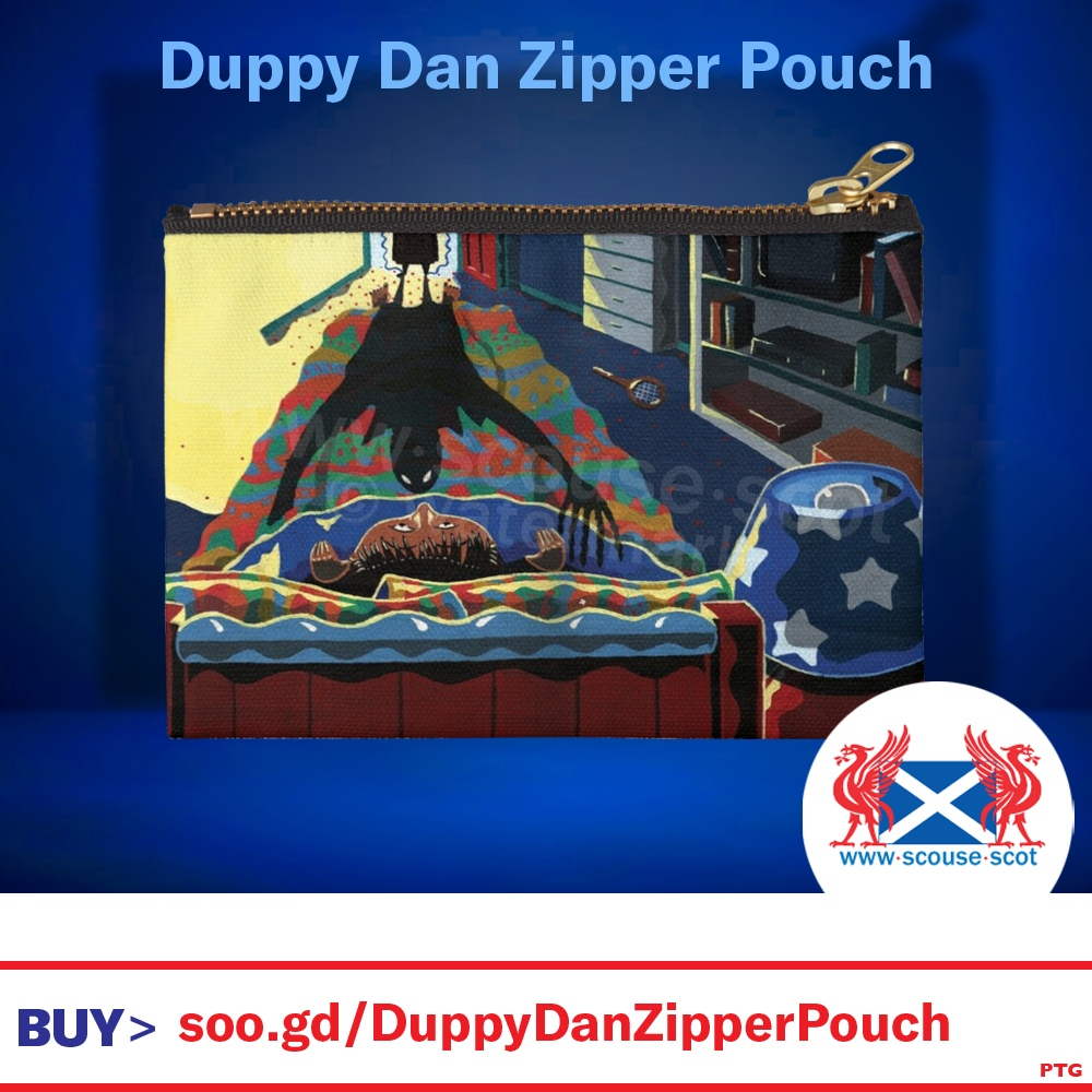 This Duppy Dan #print is on a #ZipperPouch in various sizes.  The entire Duppy Dan range of #illustrated merchandise is available from the Scouse-Scot #redbubble shop.   BUY >   #scary #creepy #halloween #spooky #macabre #pouch #pencilcase #illustration