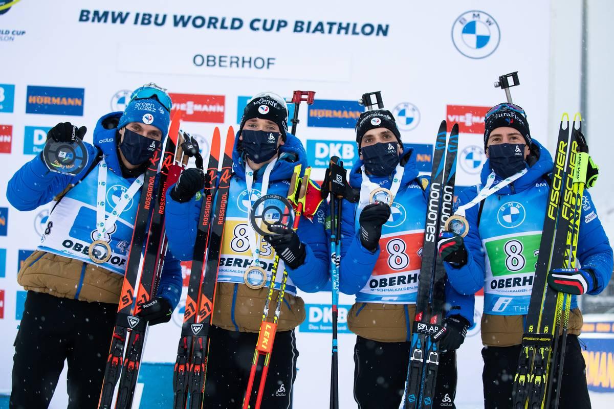 🎙 #Biathlon Pour gagner le relais d'Oberhof, la France a trouvé « le petit truc en relais ». 🔽 https://t.co/XREMRl8tZO 📸 Nordic Focus Photo Agency https://t.co/KRHySHZGEE