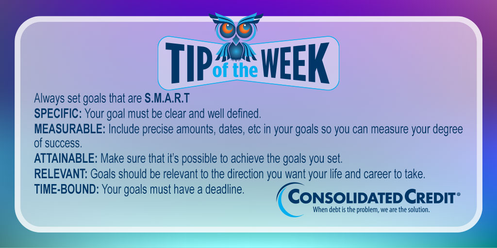 🦉#TipOftheWeek #Contest  Retweet weekly #tips for your chance to #win $50 in the monthly drawing. 💰 #WINMoney #TipOftheWeekContest   Setting #SMARTGoals and objectives gives you a clear path forward. Read on for more:   #DebtSucks
