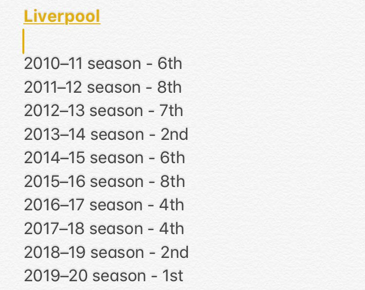 This is @LFC position in the league the last 10 season. It may take @Arsenal 5/ 6 years to be up there to compete  for the big prizes. But not with inexperienced manager like Arteta ! #ARSCRY #ARSNEW