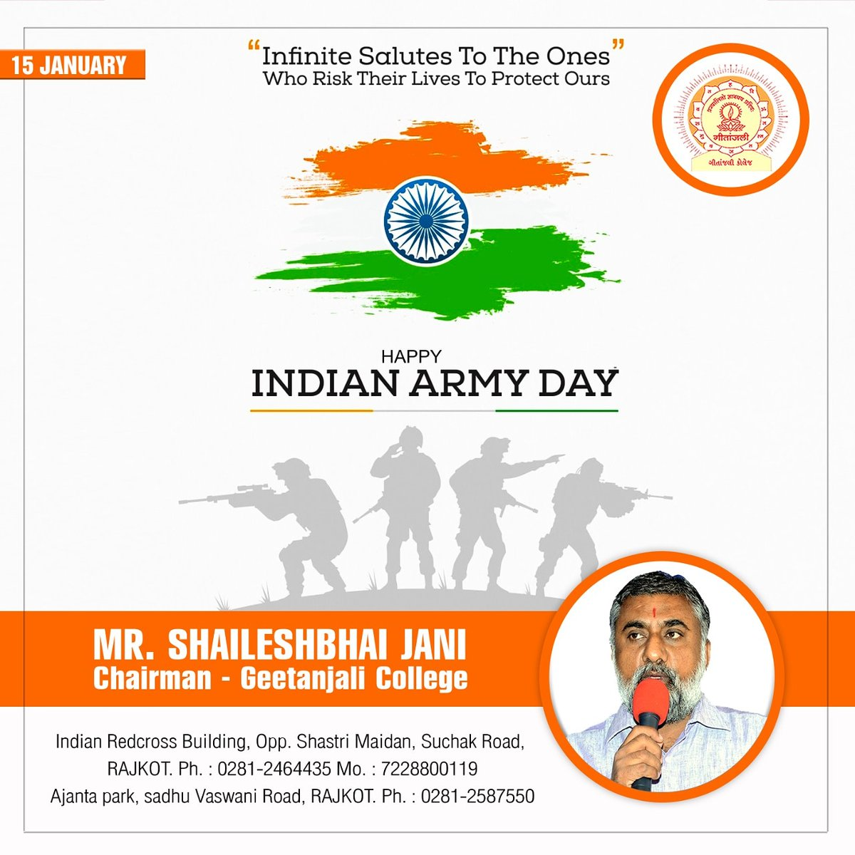 Happy Indian Army Day 🇮🇳  Infinite salutes to the ones who risk their lives to protect ours...  Geetanjali Group Of Colleges #indianarmy #indianarmyday #army #indianhero #15january #proudofnation #realheroes #salute #indian #jaihind #jaiho #proud