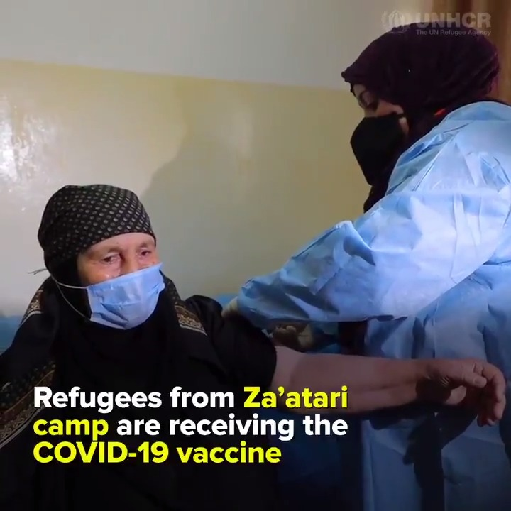 From fear of coronavirus...      …. to hope and inclusion   Refugees in Jordan's @ZaatariCamp started receiving the COVID-19 vaccine.