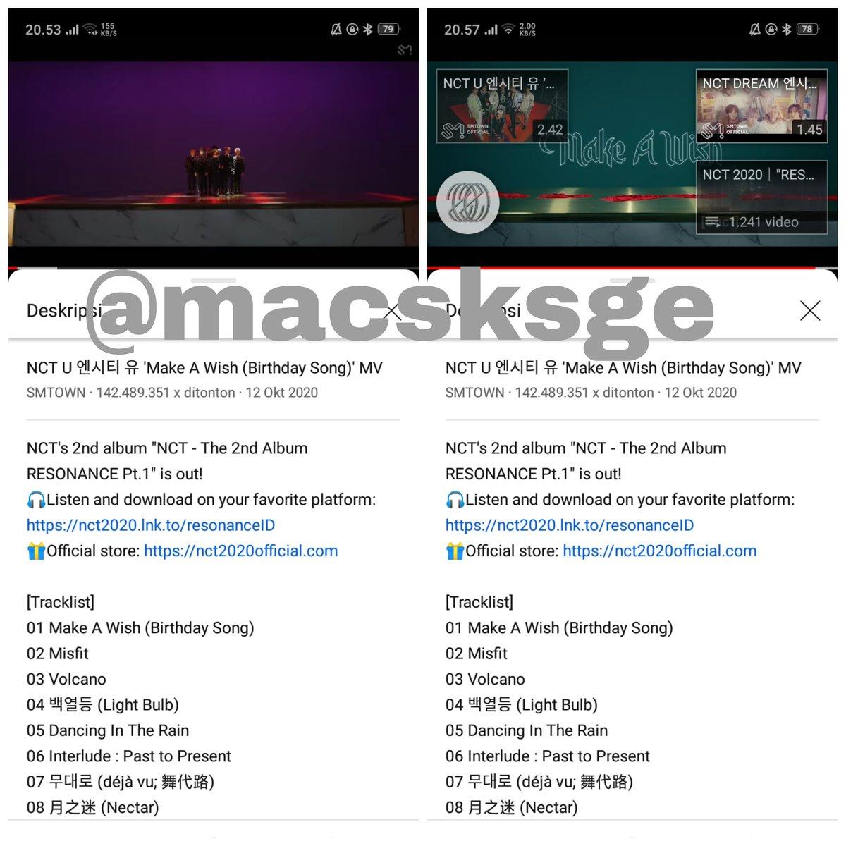 NCT U 'Make A Wish' 📅: Friday, 15.01.2021 🎬: {1-4} —————————————————— ⏰ 20.53 WIB • 📈142.489.351 ⏰ 21.13 WIB • 📈142.497.074 ⏰ 21.51 WIB • 📈142.505.956 ⏰ 22.03 WIB • 📈142.511.512  #MakeAWish #NCT_RESONANCE #NCTU #NCT #NCT2020